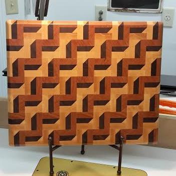 3D End Grain Board #158 - 351 x 351